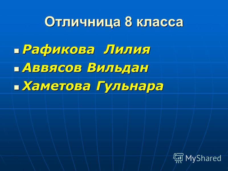 Отличница 8 класса Рафикова Лилия Аввясов Вильдан Хаметова Гульнара