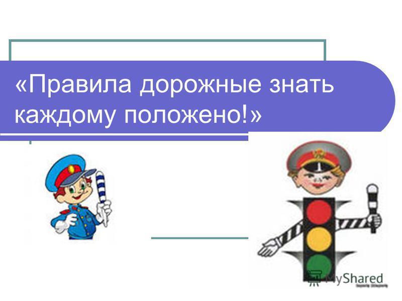 «Правила дорожные знать каждому положено!»
