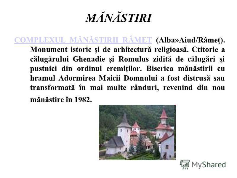 MĂNĂSTIRI COMPLEXUL MĂNĂSTIRII RÂMEŢCOMPLEXUL MĂNĂSTIRII RÂMEŢ (Alba»Aiud/Râmeţ). Monument istoric şi de arhitectură religioasă. Ctitorie a călugărului Ghenadie şi Romulus zidită de călugări şi pustnici din ordinul eremiţilor. Biserica mănăstirii cu