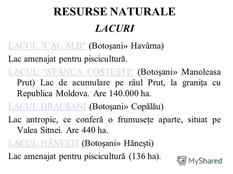 RESURSE NATURALE LACURI LACUL