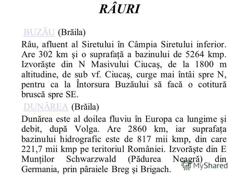 RÂURI BUZĂU (Brăila)BUZĂU Râu, afluent al Siretului în Câmpia Siretului inferior. Are 302 km şi o suprafaţă a bazinului de 5264 kmp. Izvorăşte din N Masivului Ciucaş, de la 1800 m altitudine, de sub vf. Ciucaş, curge mai întâi spre N, pentru ca la În
