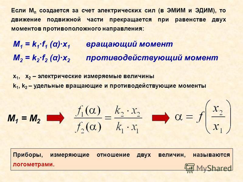 Если М п создается за счет электрических сил (в ЭМИМ и ЭДИМ), то движение подвижной части прекращается при равенстве двух моментов противоположного направления: M 1 = k 1 ·f 1 (α)·x 1 вращающий момент M 2 = k 2 ·f 2 (α)·x 2 противодействующий момент