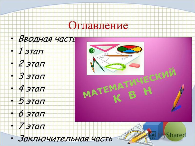 Оглавление Вводная часть 1 этап 2 этап 3 этап 4 этап 5 этап 6 этап 7 этап Заключительная часть