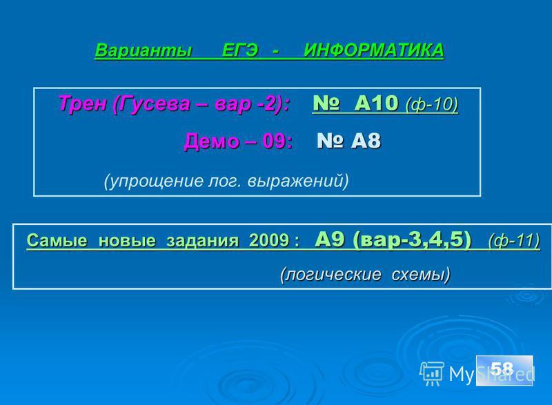Варианты ЕГЭ - ИНФОРМАТИКА 58 Трен (Гусева – вар -2): А10 (ф-10) А10 (ф-10) А10 (ф-10) Демо – 09: А8 Демо – 09: А8 (упрощение лог. выражений) Самые новые задания 2009 : А9 (вар-3,4,5) _(ф-11) Самые новые задания 2009 : А9 (вар-3,4,5) _(ф-11) (логичес
