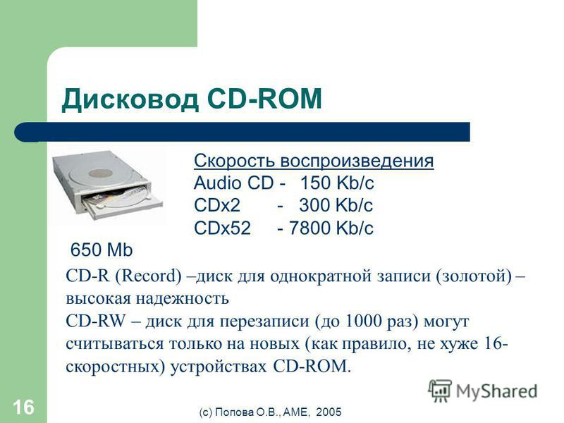 (с) Попова О.В., AME, 2005 15 Дисковод (НГМД / floppy) 3,5 1,44 Mb 300 об/мин. 100 мс 500 Kb/c 1. Защитный корпус 2. Фланец привода диска 3. Защитная шторка 4. Отверстие запрета записи 5. Отверстие - признак дискеты высокой плотности