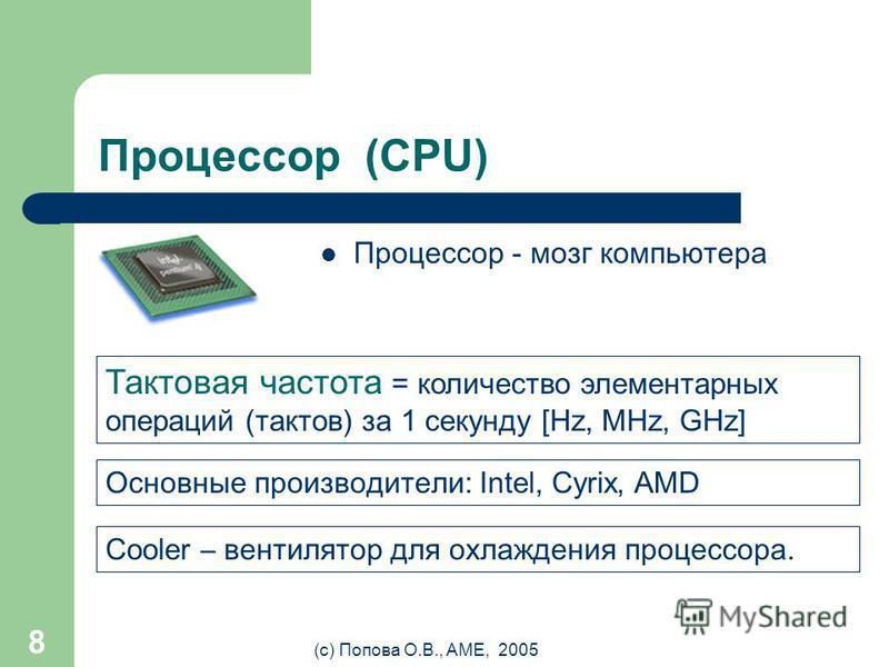 (с) Попова О.В., AME, 2005 7 Материнская плата (Motherboard) Это сердце компьютера, самое большое и сложное устройство. Именно к