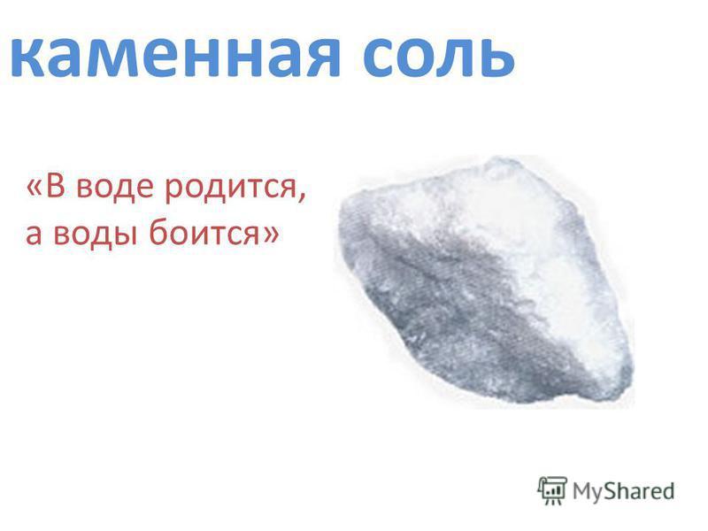 каменная соль «В воде родится, а воды боится»