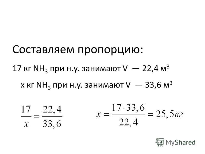 Составляем пропорцию: 17 кг NH 3 при н.у. занимают V 22,4 м 3 х кг NH 3 при н.у. занимают V 33,6 м 3