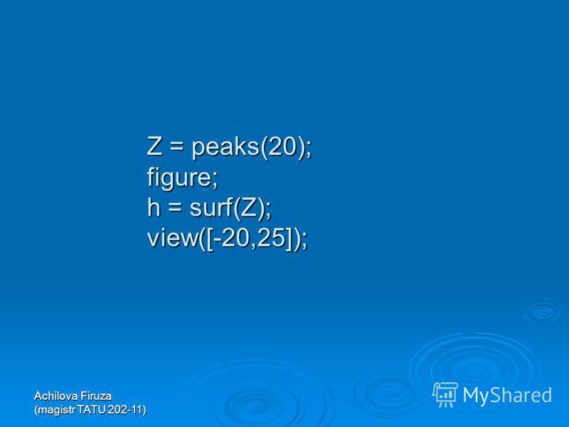 Z = peaks(20); figure; h = surf(Z); view([-20,25]);