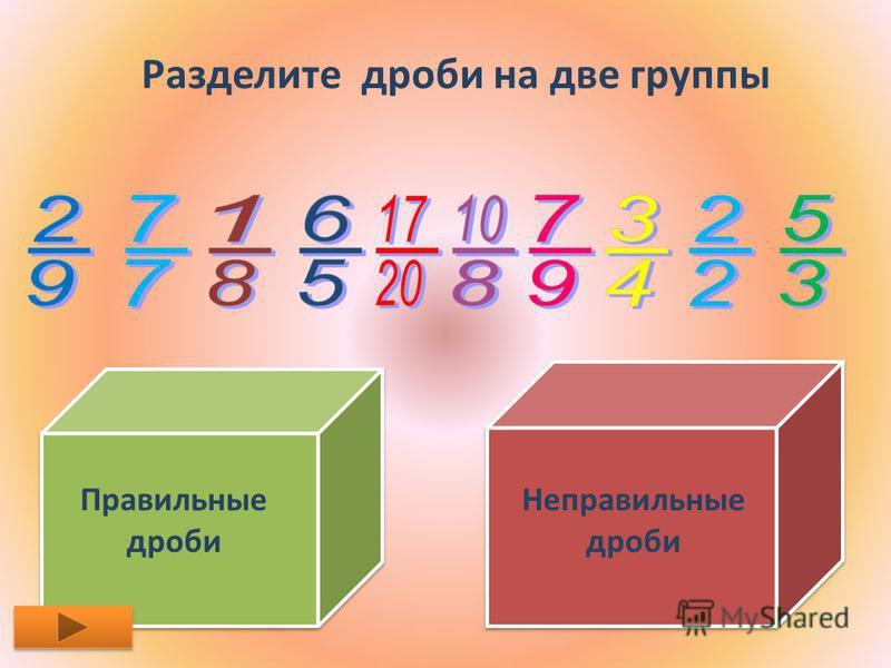 Разделите дроби на две группы Правильные дроби Неправильные дроби
