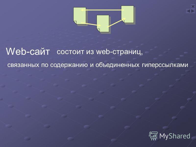Web-сайт связанных по содержанию и объединенных гиперссылками состоит из web-страниц,