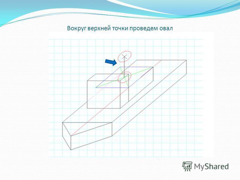 Проведем из центра овала прямую длиной в три клетки, получилась ось симметрии трубы