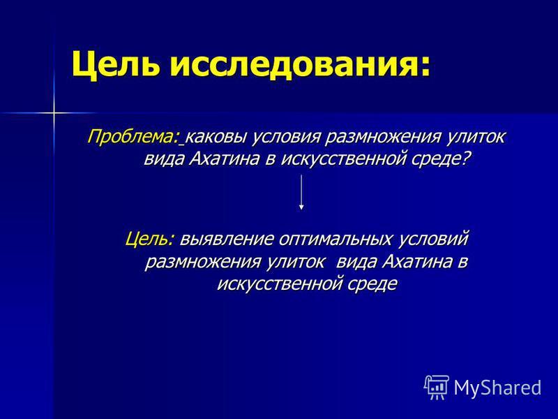Цель исследования: Проблема: каковы условия размножения улиток вида Ахатина в искусственной среде? Цель: выявление оптимальных условий размножения улиток вида Ахатина в искусственной среде