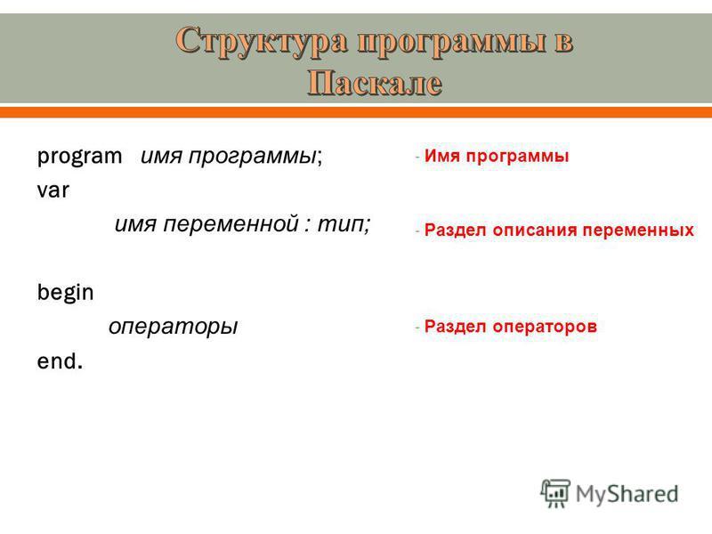 program и мя программы ; var и мя переменной : тип ; begin операторы end. - Имя программы - Раздел описания переменных - Раздел операторов