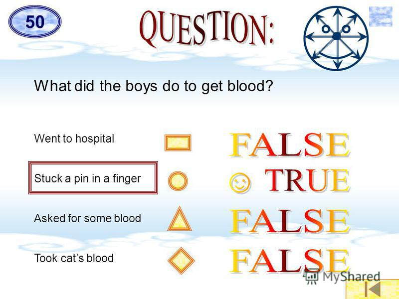 What did the boys do to get blood? Went to hospital Stuck a pin in a finger Asked for some blood Took cats blood 5050