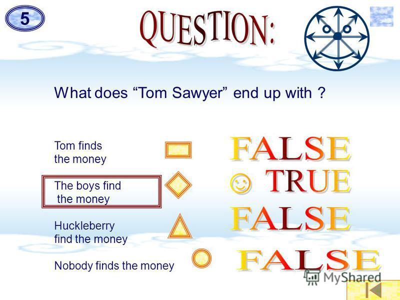 5 What does Tom Sawyer end up with ? Tom finds the money The boys find the money Huckleberry find the money Nobody finds the money