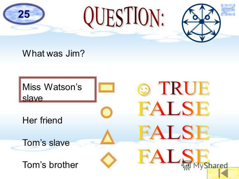 What was Jim? Miss Watsons slave Her friend Toms slave Toms brother 25
