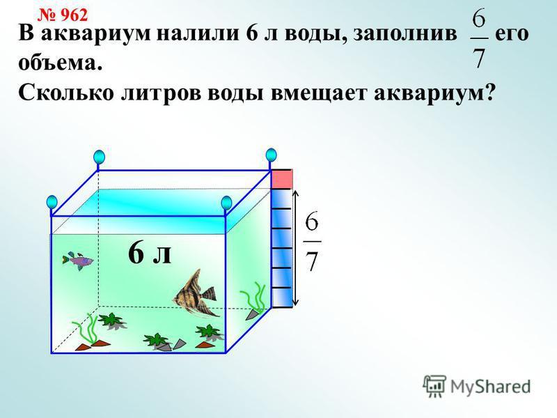 В аквариум налили 6 л воды, заполнив его объема. Сколько литров воды вмещает аквариум? 6 л 962