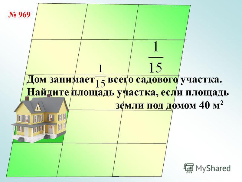 40 м 2 Дом занимает всего садового участка. Найдите площадь участка, если площадь земли под домом 40 м 2 969