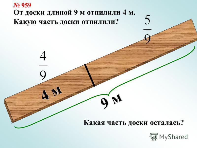 9 м 4 м От доски длиной 9 м отпилили 4 м. Какую часть доски отпилили? Какая часть доски осталась? 959