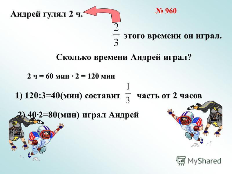 Андрей гулял 2 ч. этого времени он играл. Сколько времени Андрей играл? 1) 120:3=40(мин) составит часть от 2 часов 2) 402=80(мин) играл Андрей 960 2 ч = 60 мин 2 = 120 мин