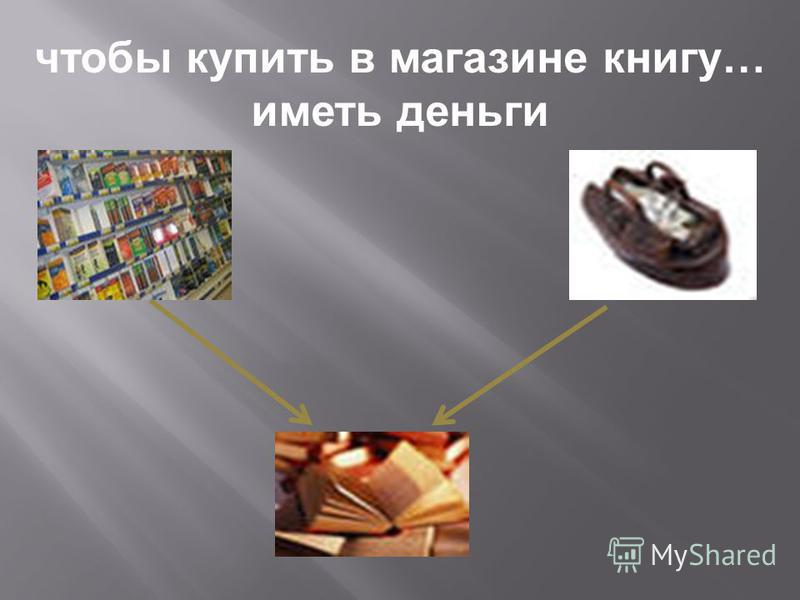 чтобы купить в магазине книгу … иметь деньги