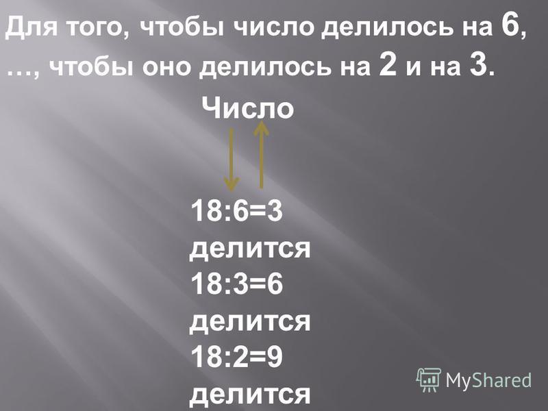 Для того, чтобы число делилось на 6, …, чтобы оно делилось на 2 и на 3. Число 18:6=3 делится 18:3=6 делится 18:2=9 делится