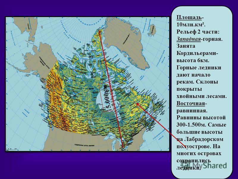 Площадь- 10 млн.км². Рельеф 2 части: Западная-горная. Занята Кордильерами- высота 6 км. Горные ледники дают начало рекам. Склоны покрыты хвойными лесами. Восточная- равнинная. Равнины высотой 300-1.500 м. Самые большие высоты на Лабрадорском полуостр