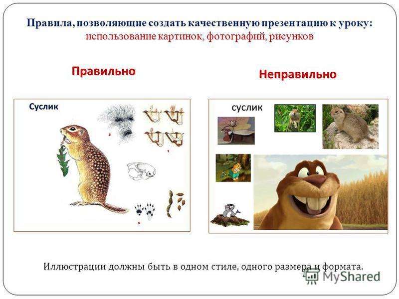 использование картинок, фотографий, рисунков Правила, позволяющие создать качественную презентацию к уроку: использование картинок, фотографий, рисунков Правильно Неправильно Иллюстрации должны быть в одном стиле, одного размера и формата.
