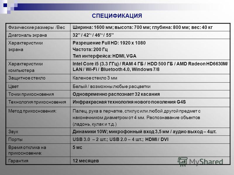 СПЕЦИФИКАЦИЯ Физические размеры /Вес Ширина: 1600 мм; высота: 700 мм; глубина: 800 мм; вес: 40 кг Диагональ экрана 32'' / 42' / 46' / 55'' Характеристики экрана Разрешение Full HD: 1920 х 1080 Частота: 200 Гц Тип интерфейса: HDMI, VGA Характеристики