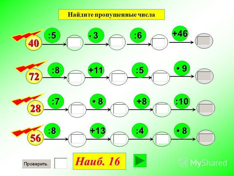 40 :8 9 :5 +11 3 +46 72 :6 :5 :7+8 28 :10 8 :8 56 :4+13 8 Наиб. 16 Найдите пропущенные числа