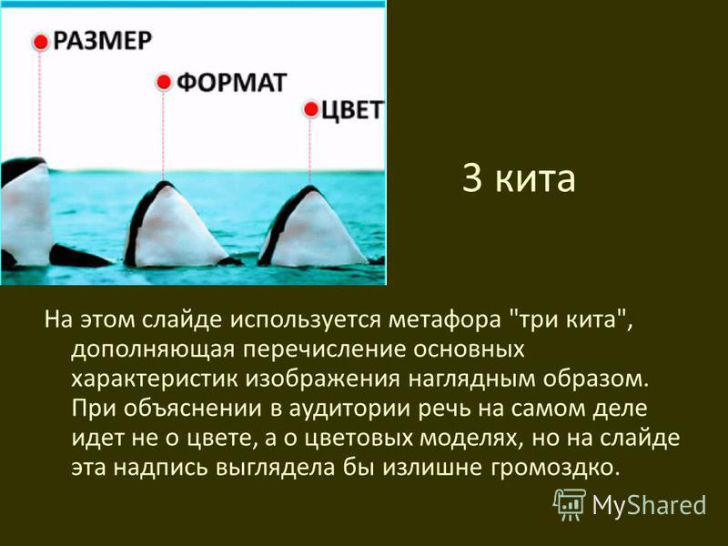 3 кита На этом слайде используется метафора