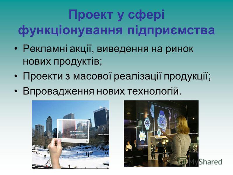 Проект у сфері функціонування підприємства Рекламні акції, виведення на ринок нових продуктів; Проекти з масової реалізації продукції; Впровадження нових технологій.