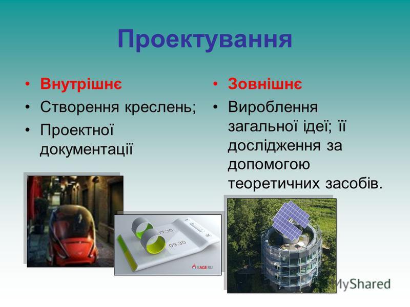 Проектування Внутрішнє Створення креслень; Проектної документації Зовнішнє Вироблення загальної ідеї; її дослідження за допомогою теоретичних засобів.