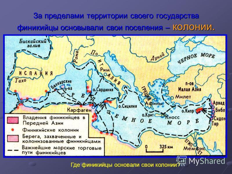 За пределами территории своего государства финикийцы основывали свои поселения – колонии. Где финикийцы основали свои колонии?