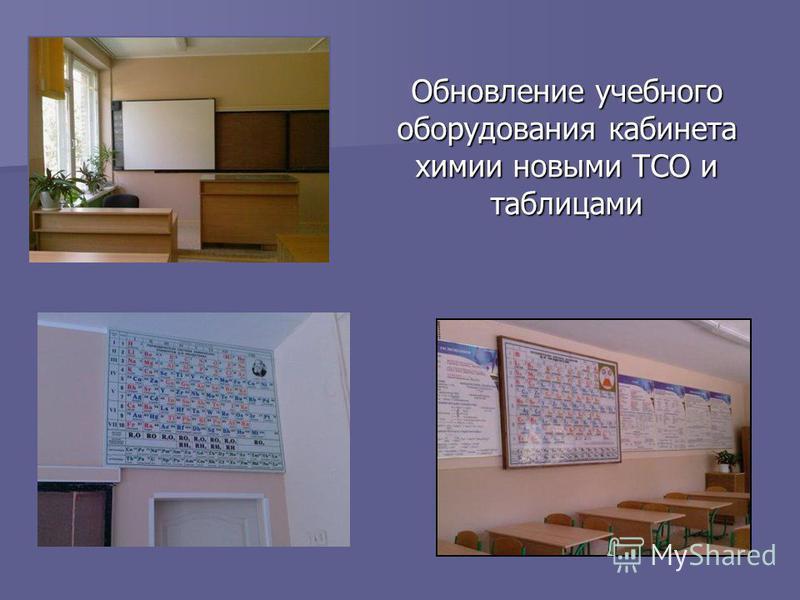 Обновление учебного оборудования кабинета химии новыми ТСО и таблицами