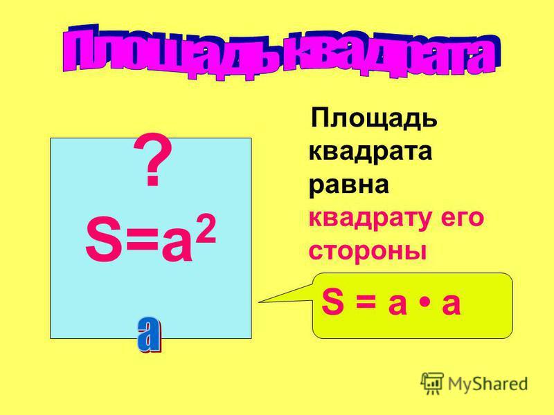 Площадь квадрата равна квадрату его стороны S=a 2 S = a а ?