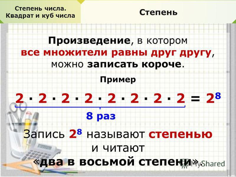 Каким действием можно заменить сложение? 2+2+2+2+2+2= =2*6 Что показывает число 2? Что показывает число 6? Как вы думаете, можно ли произведение 2*2*2*2*2*2 записать короче? 2*2*2*2*2*2=