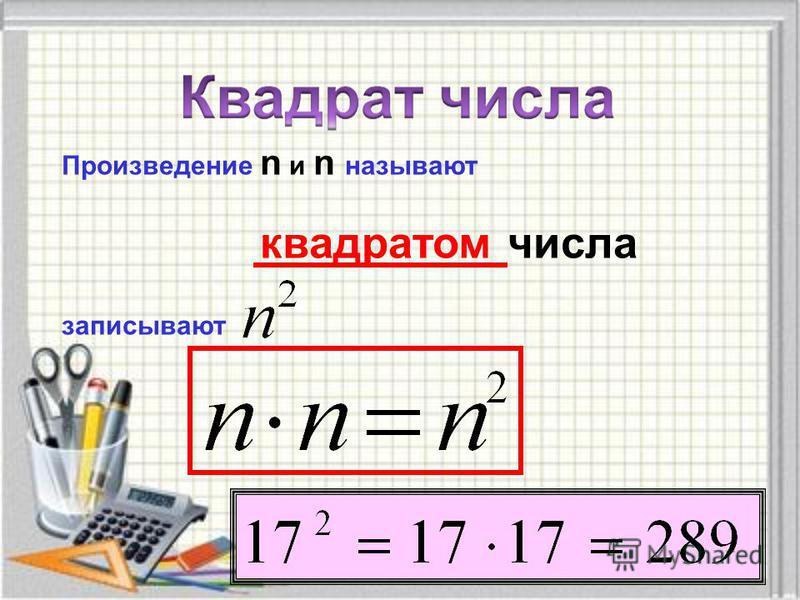 Степень числа. Квадрат и куб числа Первая степень числа, квадрат числа, куб числа Первая степень числа – само это число. a 1 = a Вторую степень числа называют также квадратом числа. Запись 3 2 читают «три во второй степени» или «три в квадрате». Трет