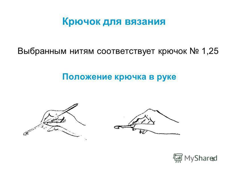 5 Крючок для вязания Выбранным нитям соответствует крючок 1,25 Положение крючка в руке