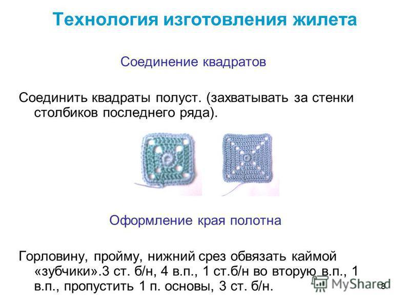8 Технология изготовления жилета Соединение квадратов Соединить квадраты полуст. (захватывать за стенки столбиков последнего ряда). Оформление края полотна Горловину, пройму, нижний срез обвязать каймой «зубчики».3 ст. б/н, 4 в.п., 1 ст.б/н во вторую