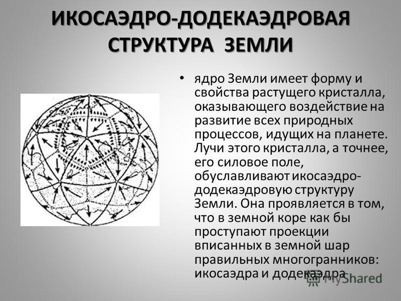 ИКОСАЭДРО-ДОДЕКАЭДРОВАЯ СТРУКТУРА ЗЕМЛИ ядро Земли имеет форму и свойства растущего кристалла, оказывающего воздействие на развитие всех природных процессов, идущих на планете. Лучи этого кристалла, а точнее, его силовое поле, обуславливают икосаэдр-