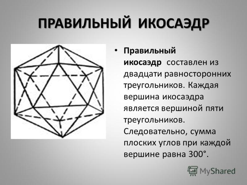 ПРАВИЛЬНЫЙ ИКОСАЭДР Правильный икосаэдр составлен из двадцати равносторонних треугольников. Каждая вершина икосаэдра является вершиной пяти треугольников. Следовательно, сумма плоских углов при каждой вершине равна 300°.