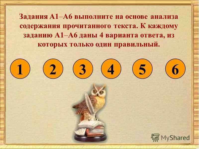 Задания A1–A6 выполните на основе анализа содержания прочитанного текста. К каждому заданию А1–А6 даны 4 варианта ответа, из которых только один правильный. 132456