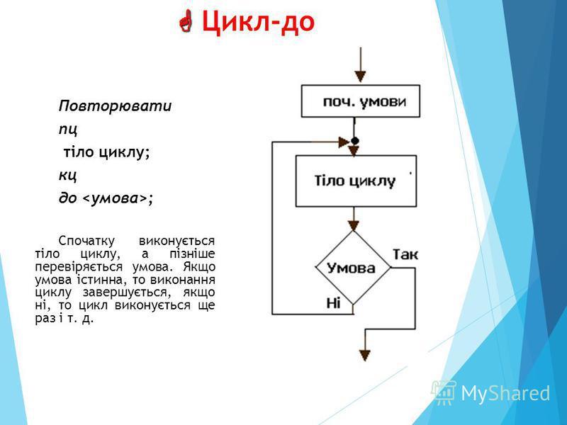 Цикл-до Повторювати пц тіло циклу; кц до ; Спочатку виконується тіло циклу, а пізніше перевіряється умова. Якщо умова істинна, то виконання циклу завершується, якщо ні, то цикл виконується ще раз і т. д.