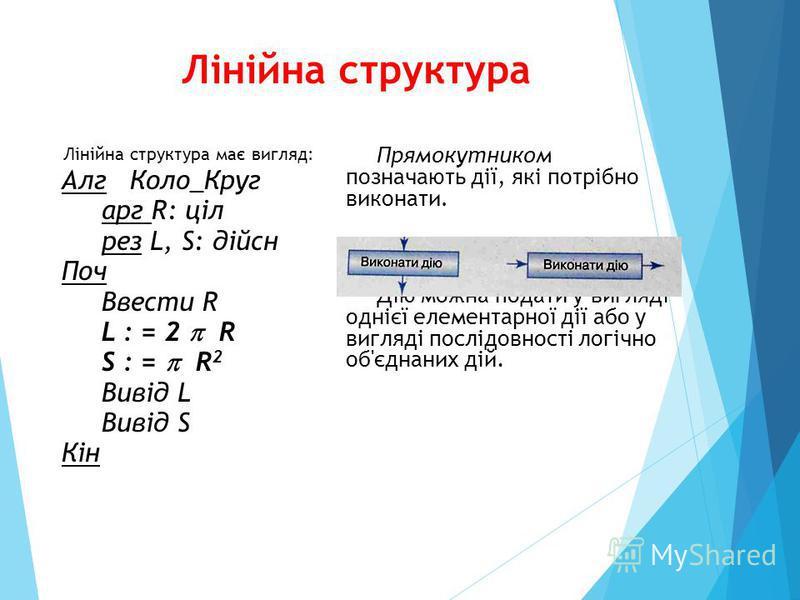Лінійна структура Лінійна структура має вигляд: Алг Коло_Круг арг R: ціл рез L, S: дійсн Поч Ввести R L : = 2 R S : = R 2 Вивід L Вивід S Кін Прямокутником позначають дії, які потрібно виконати. Дію можна подати у вигляді однієї елементарної дії або