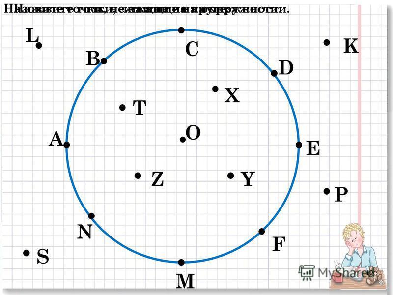 О А В С D E F M N P K L S T Z X Y Назовите точки, лежащие на окружности.Назовите точки, не лежащие на окружности.Назовите точки, лежащие на круге: 19