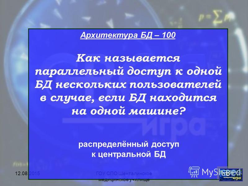 12.08.2015ГОУ СПО Шенталинское медицинское училище Архитектура БД СУБД MS Access Обработка данных Нормализация БД Транзакции БД 200100300400500600700800900 200100300400500600700800900 200100300400500600700800900 200100300400500600700800900 2001003004