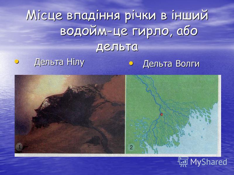 Місце впадіння річки в інший водойм-це гирло, або дельта Дельта Нілу Дельта Нілу Дельта Волги Дельта Волги