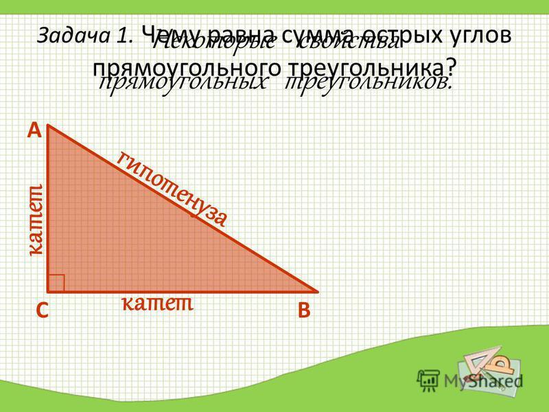 Задача 1. Чему равна сумма острых углов прямоугольного треугольника? А СВ Некоторые свойства прямоугольных треугольников. гипотенуза катет